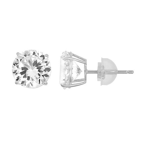 100 Facets of Love 10k Gold Lab-Created White Sapphire Stud Earrings
