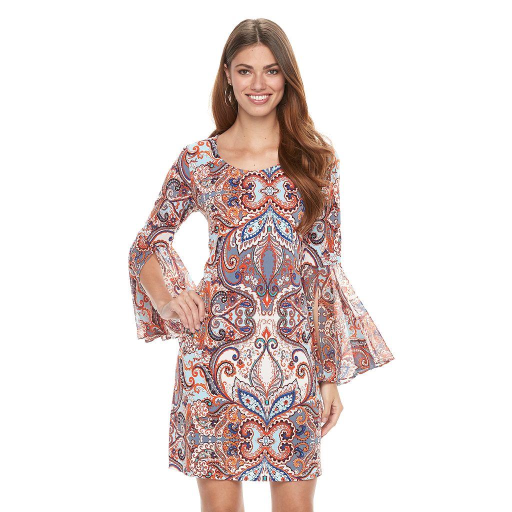 Women's MSK Bell-Sleeve Paisley Shift Dress