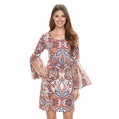 Women's MSK Bell-Sleeve Paisley Shift Dress