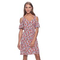 Women's MSK Floral Cold-Shoulder Shift Dress