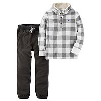 Boys 4-8 Carter's Checked Pullover Top & Fleece Pants Set