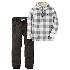 Boys 4-8 Carter's Checked Pullover Top & Fleece Pants Set