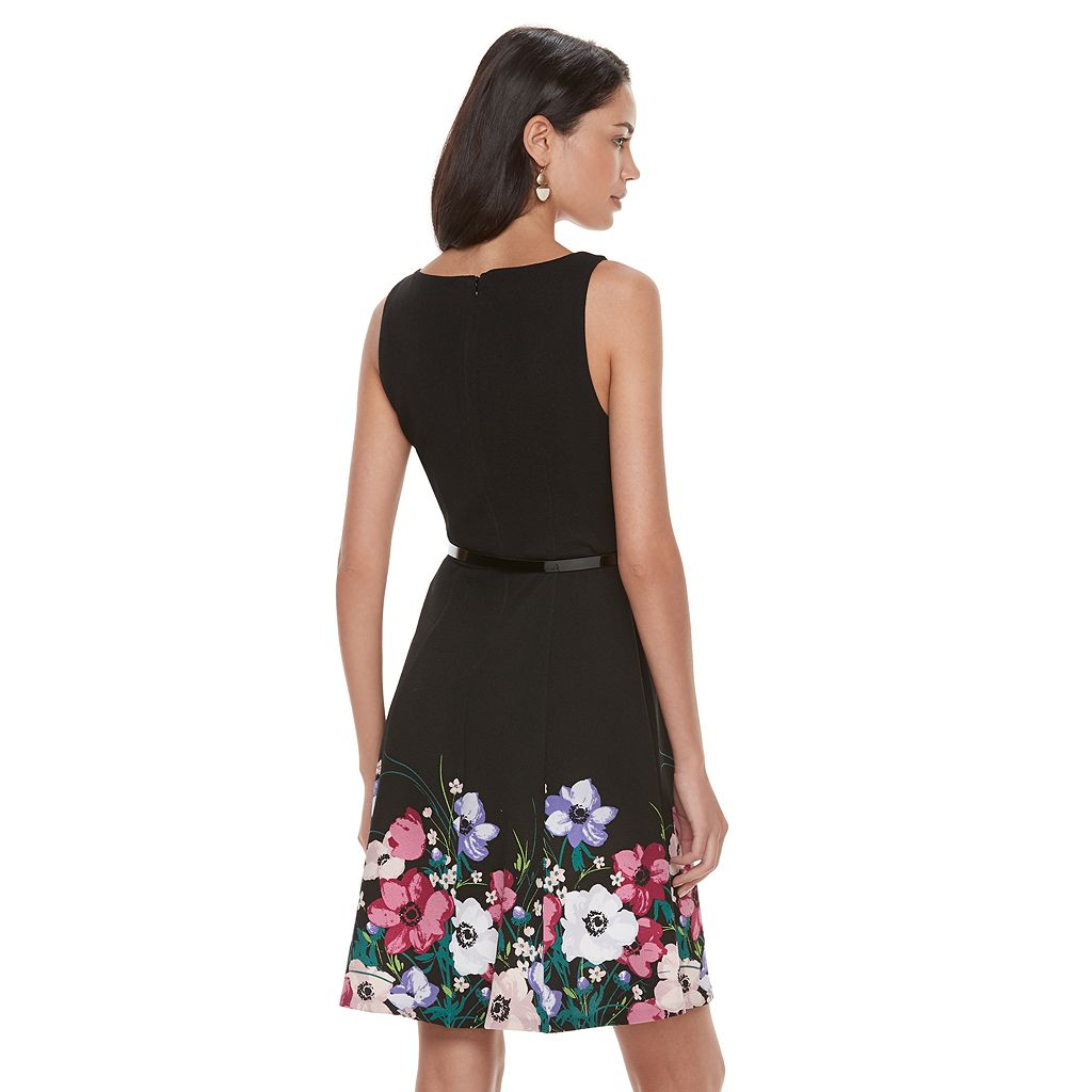 Women's ELLE™ Floral Hem Fit & Flare Dress
