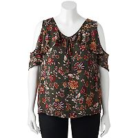 Juniors' Plus Size IZ Byer Floral Cold Shoulder Top