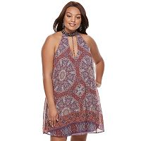 Juniors' Plus Size Speechless Medallion Print Halter Dress