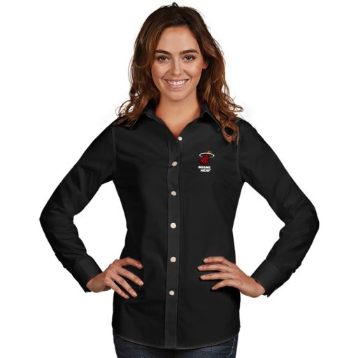 Women's Antigua Miami Heat Dynasty Button-Down Shirt