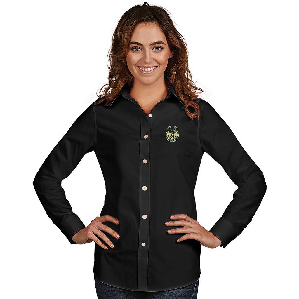 Women's Antigua Milwaukee Bucks Dynasty Button-Down Shirt