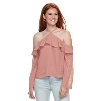Juniors' Love, Fire Ruffle Off-the-Shoulder Top