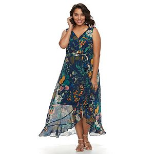 Plus Size Chaya Floral Faux-Wrap Maxi Dress
