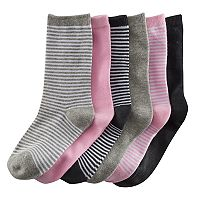 Girls 4-16 SO® 6 pkStripes & Solid Crew Socks