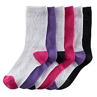 Girls 4-16 SO® 6-pk. Textured Heart Crew Socks