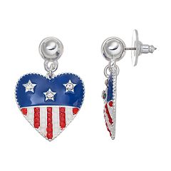 American Flag Heart Drop Earrings