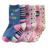 "Girls 4-16 SO® 6-pk. ""Best Day Ever"" Crew Socks"