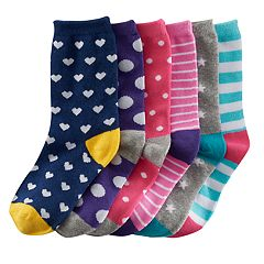 Girls 4-16 SO® 6 pkPatterned Crew Socks