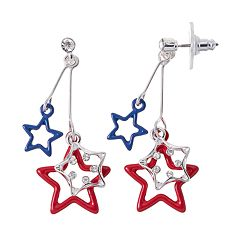 Red & Blue Star Drop Earrings