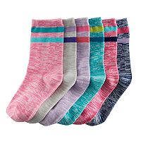 Girls 4-16 SO® 6-pk. Spaced-Dyed Striped Crew Socks
