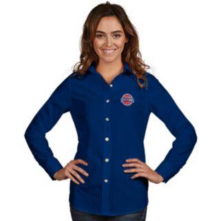 Women's Antigua Detroit Pistons Dynasty Button-Down Shirt
