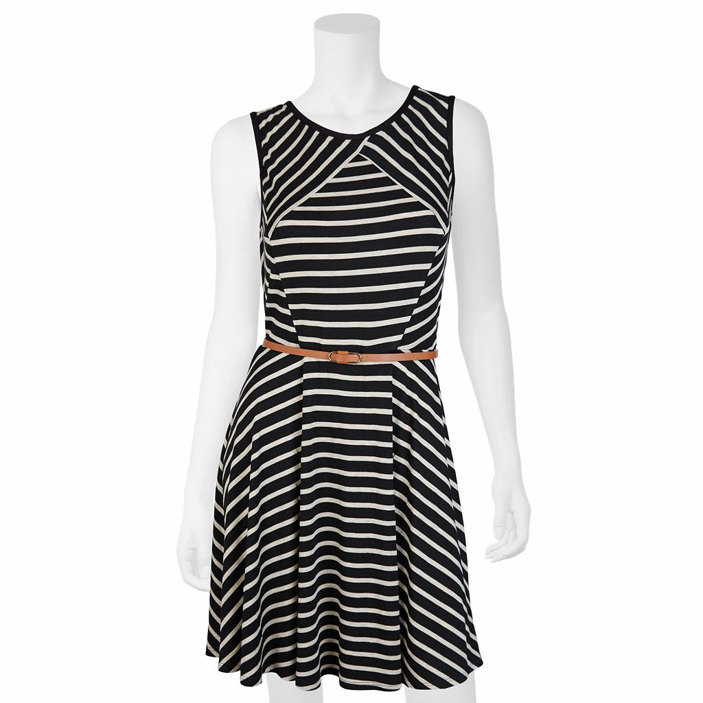 Juniors' IZ Byer California Striped Skater Dress