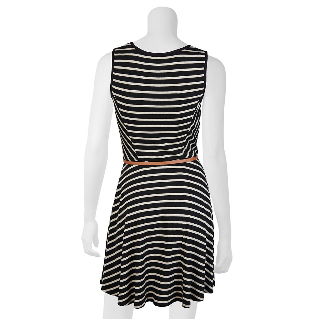 Juniors' IZ Byer Striped Skater Dress