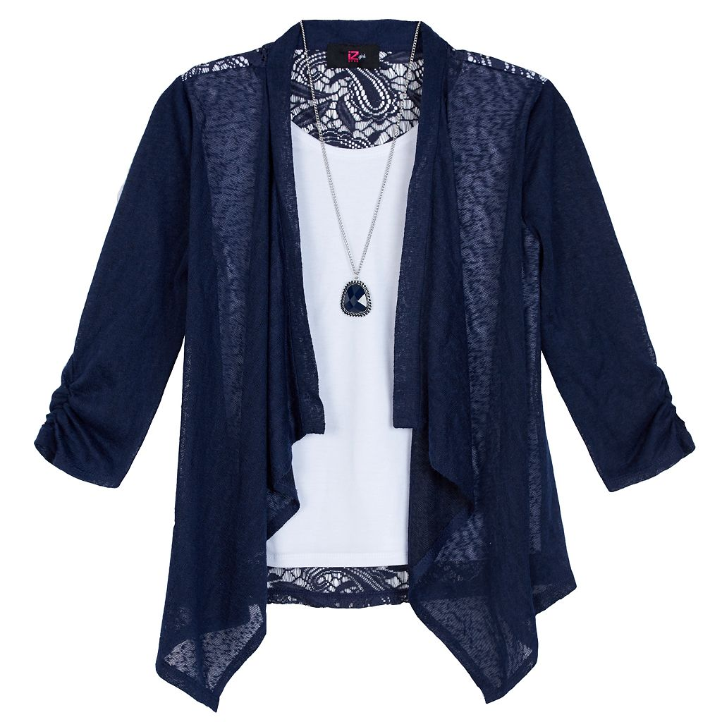 Girls 7-16 IZ Amy Byer 3/4-Sleeve 2-in-1 Lace Back Cozy Top with Necklace