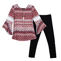 Girls 7-16 IZ Amy Byer Bell Sleeve Printed Tunic & Leggings Set with Necklace