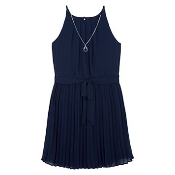 Girls 7-16 IZ Amy Byer Pleated Georgette Dress with Necklace