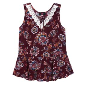 Girls 7-16 IZ Amy Byer Patterned Lace-Up Tiered Swing Tank Top