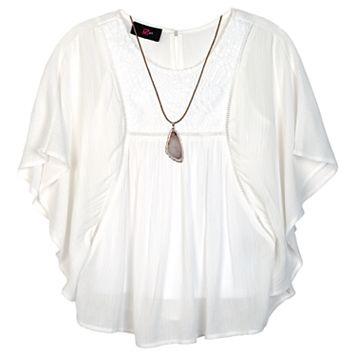 Girls 7-16 IZ Amy Byer Dolman Woven Top with Necklace