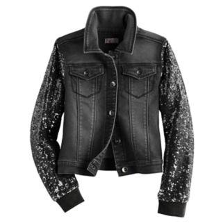 Girls Plus Size SO® Sequin Sleeve Denim Jacket