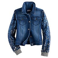 Girls Plus Size SO® Sequin Sleeve Denim Jacket