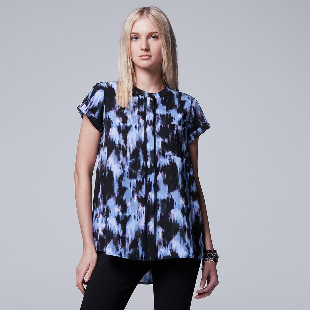 a5130afea18e0 Plus Size Simply Vera Vera Wang Printed Chiffon Popover Top (Drk ...