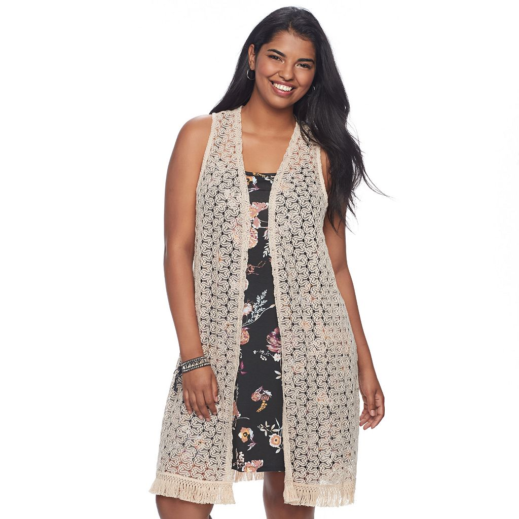 Juniors' Plus Size Wallflower Crochet Vest & Swing Dress