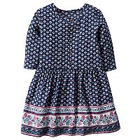 Toddler Girl Carter's Patterned Print Border Dress