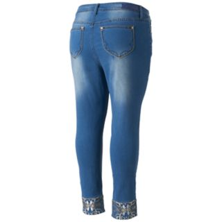 Juniors' Plus Size Hydraulic Lola Curvy Embellished Skinny Jeans
