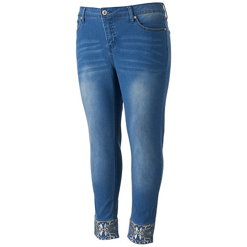 Juniors' Plus Size Hydraulic Lola Curvy Embellished Skinny Jeans
