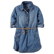 Toddler Girl Carter's Belted Chambray Shirt Dress