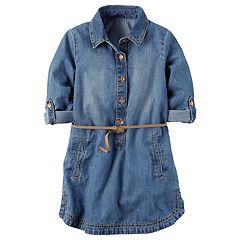 Toddler Girl Carter's Belted Chambray Shirt Dress