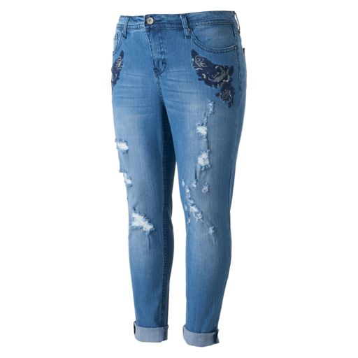 Juniors' Plus Size Hydraulic Emma Ripped Ankle Jeans