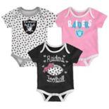 Baby Oakland Raiders Heart Fan 3-Pack Bodysuit Set