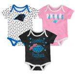 Baby Carolina Panthers Heart Fan 3-Pack Bodysuit Set