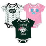 Baby New York Jets Heart Fan 3-Pack Bodysuit Set