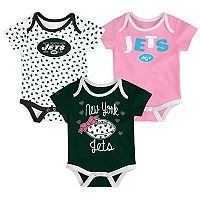 Baby New York Jets Heart Fan 3-Pack Bodysuit Set