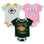 Baby Green Bay Packers Heart Fan 3-Pack Bodysuit Set