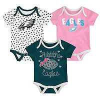 Baby Philadelphia Eagles Heart Fan 3-Pack Bodysuit Set