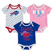 Baby Buffalo Bills Heart Fan 3-Pack Bodysuit Set