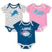Baby Detroit Lions Heart Fan 3-Pack Bodysuit Set