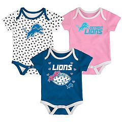 Baby Detroit Lions Heart Fan 3-Pack Bodysuit Set