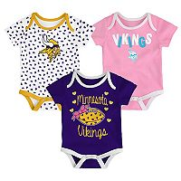 Baby Minnesota Vikings Heart Fan 3-Pack Bodysuit Set