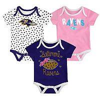 Baby Baltimore Ravens Heart Fan 3-Pack Bodysuit Set