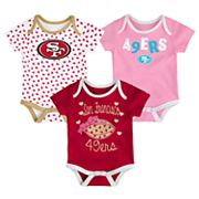 Baby San Francisco 49ers Heart Fan 3-Pack Bodysuit Set